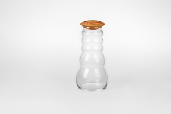 Cadus Krug 1 Liter white mit Olivenholzdeckel