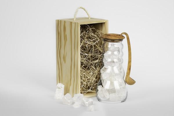 Cadus Krug Salt mit Olivenholzdeckel und Löffel, Set