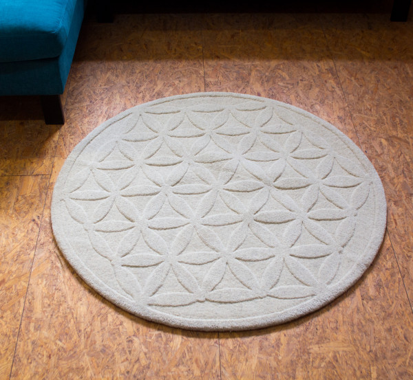 Teppich «Blume des Lebens» Natur 200 cm Ø